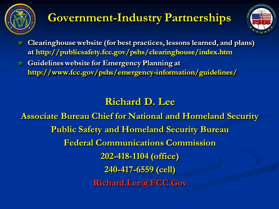 Government-Industry Partnerships Clearinghouse website (for best practices, lessons learned, and plans) at Clearinghouse website (for best practices,