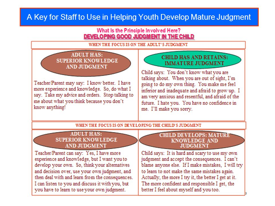 A Key for Staff to Use in Helping Youth Develop Mature Judgment