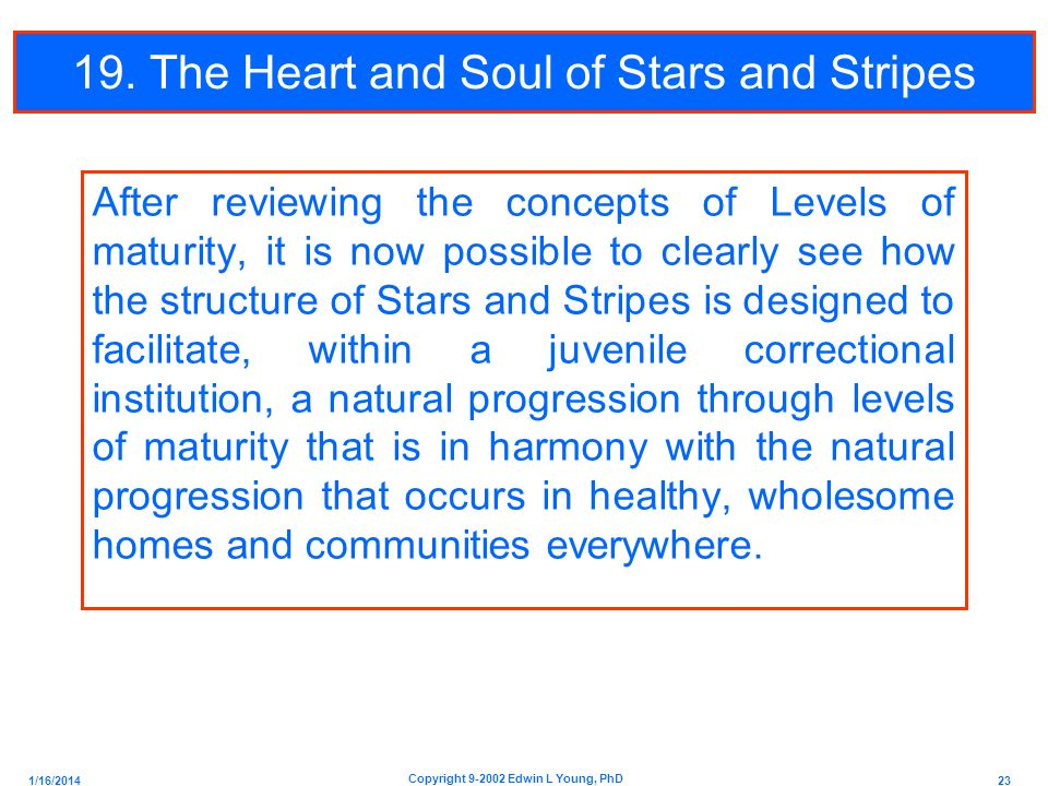 1/16/2014 23 Copyright 9-2002 Edwin L Young, PhD 19. The Heart and Soul of Stars and Stripes After reviewing the concepts of Levels of maturity, it is