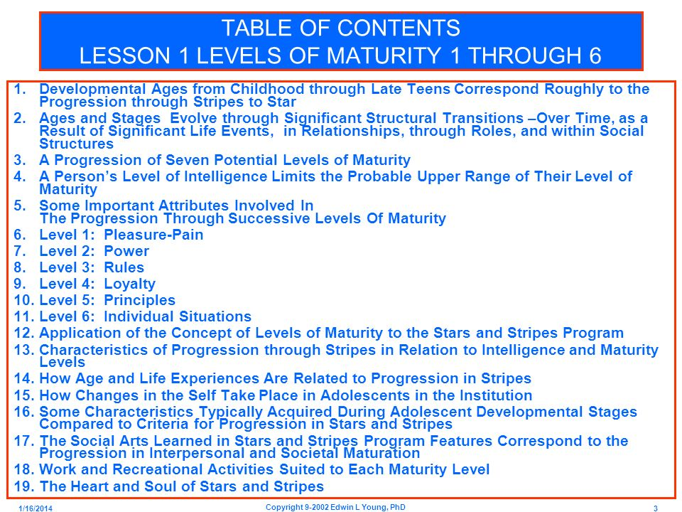 1/16/2014 3 Copyright 9-2002 Edwin L Young, PhD TABLE OF CONTENTS LESSON 1 LEVELS OF MATURITY 1 THROUGH 6 1.Developmental Ages from Childhood through