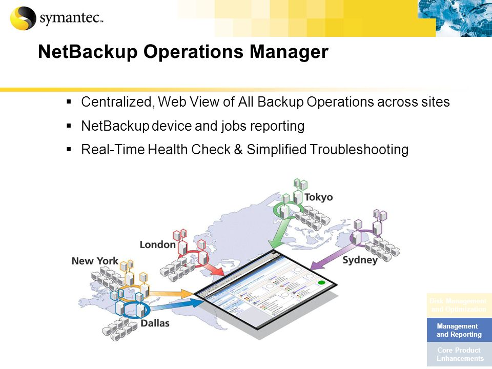 NetBackup Operations Manager Centralized, Web View of All Backup Operations across sites NetBackup device and jobs reporting Real-Time Health Check &