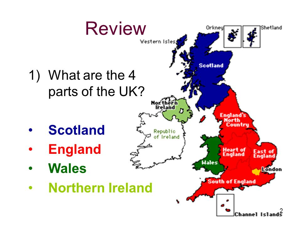 Review 1)What are the 4 parts of the UK? Scotland England Wales Northern Ireland 2