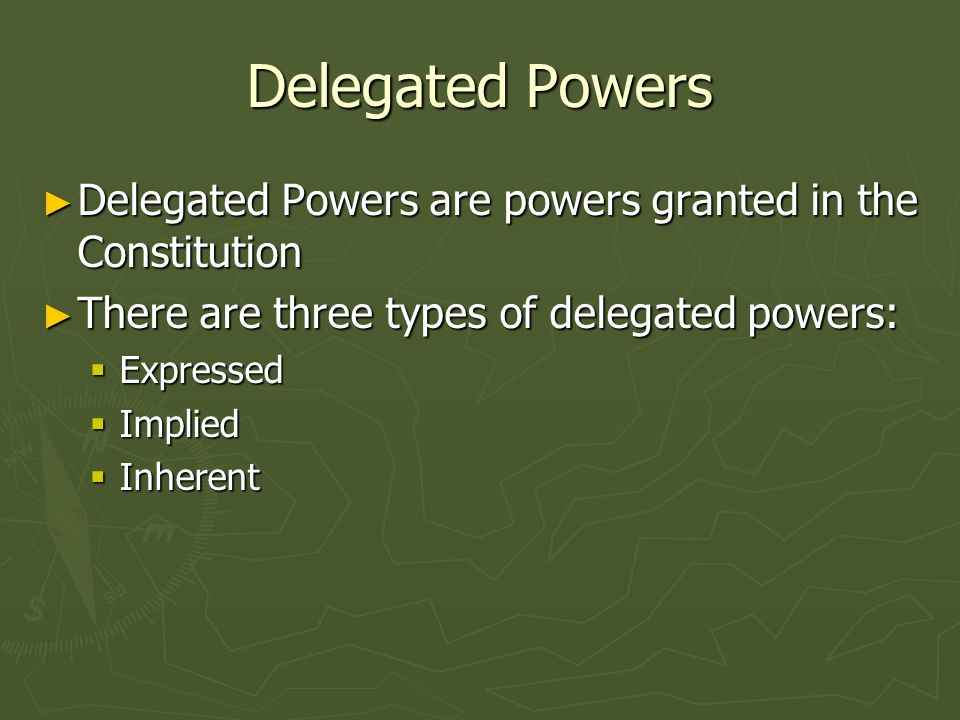 Expressed Expressed Powers are delegated to the National Govt, spelled out expressly in the Constitution Expressed Powers are delegated to the National Govt, spelled out expressly in the Constitution They can be found in Art.