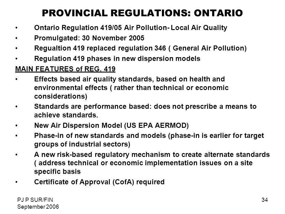 PJ P SUR/FIN September 2006 34 PROVINCIAL REGULATIONS: ONTARIO Ontario Regulation 419/05 Air Pollution- Local Air Quality Promulgated: 30 November 200