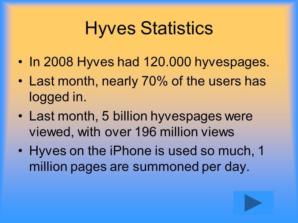 Hyves Statistics In 2008 Hyves had 120.000 hyvespages. Last month, nearly 70% of the users has logged in. Last month, 5 billion hyvespages were viewed