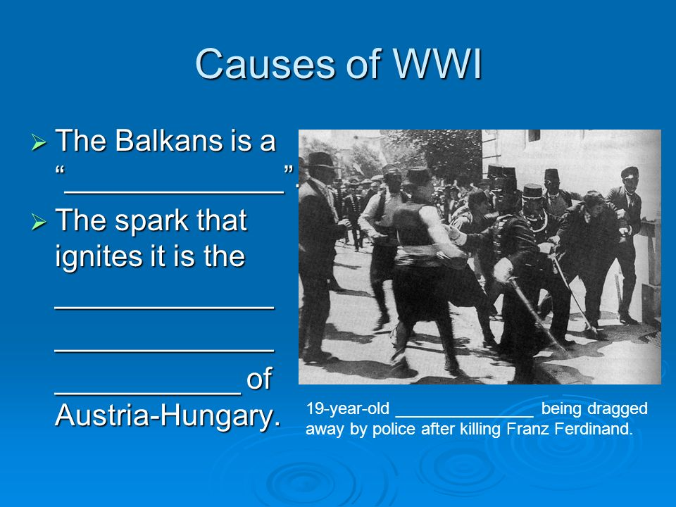 Causes of WWI The Balkans is a _____________. The Balkans is a _____________.