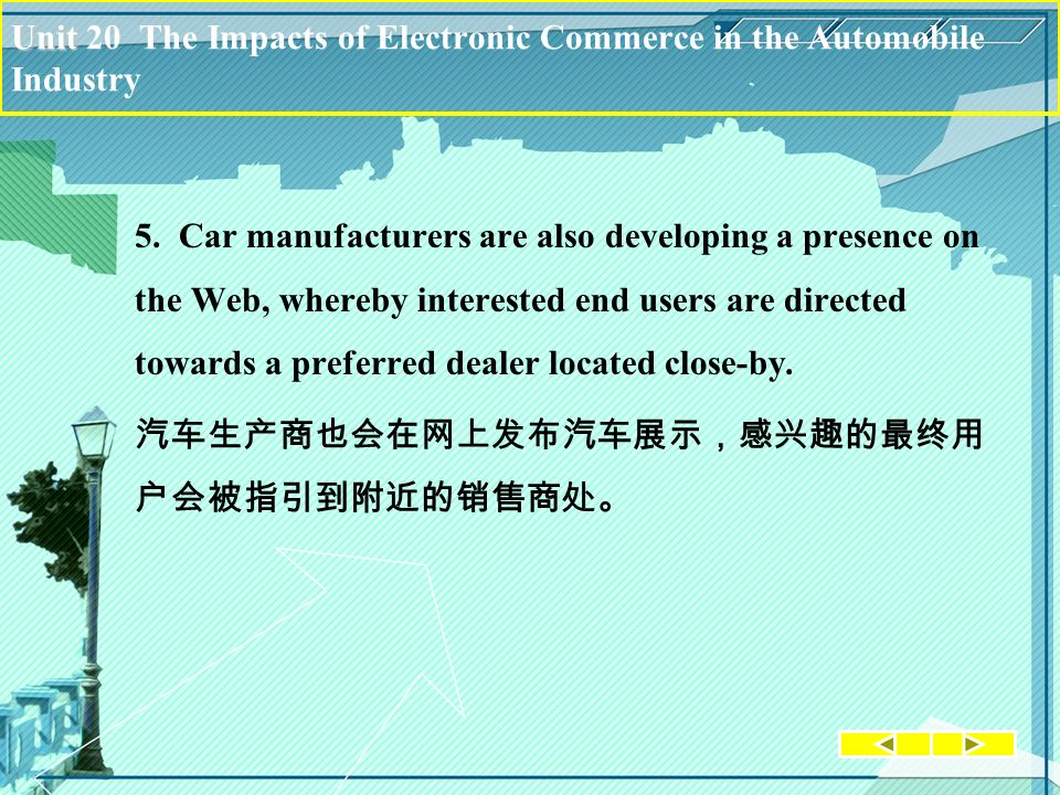 Unit Unit 20 The Impacts of Electronic Commerce in the Automobile Industry 5. Car manufacturers are also developing a presence on the Web, whereby int