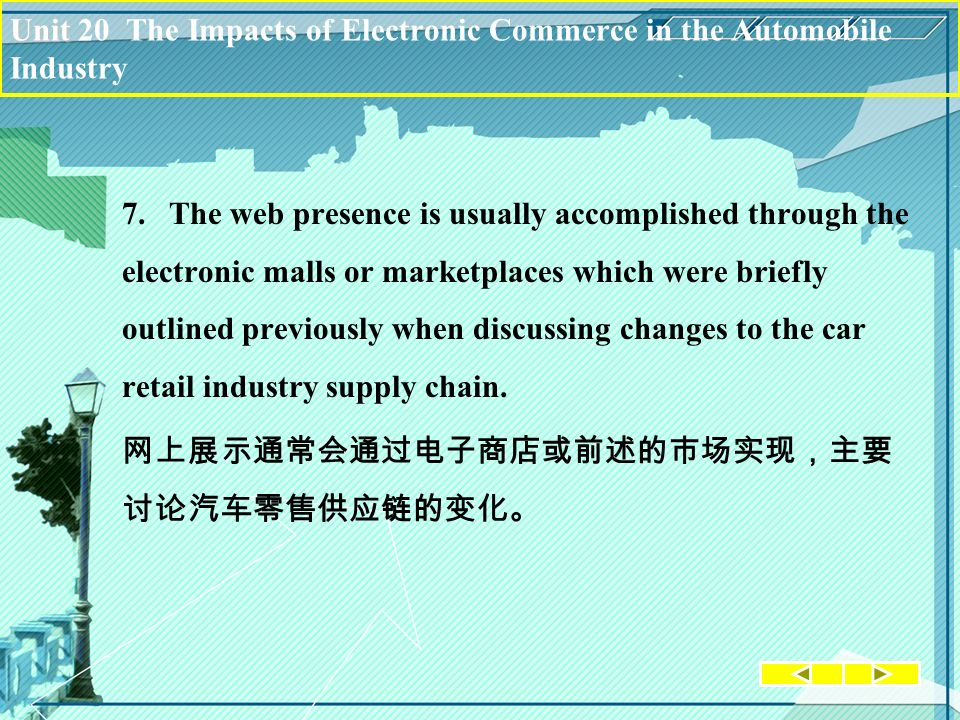 Unit Unit 20 The Impacts of Electronic Commerce in the Automobile Industry 7.