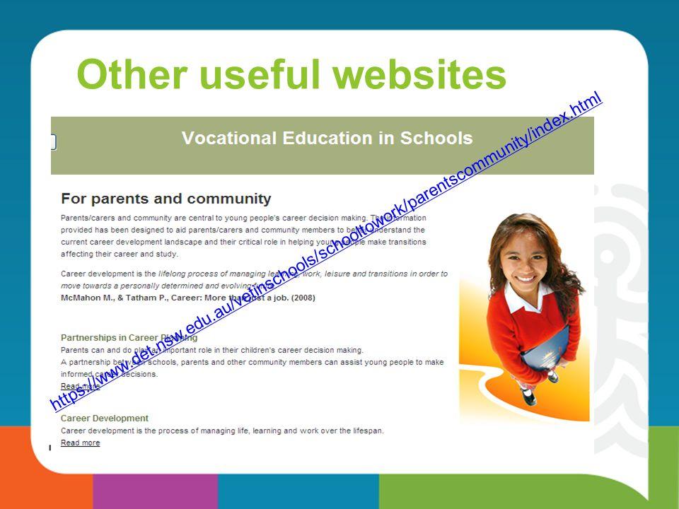 Other useful websites https://www.det.nsw.edu.au/vetinschools/schooltowork/parentscommunity/index.html