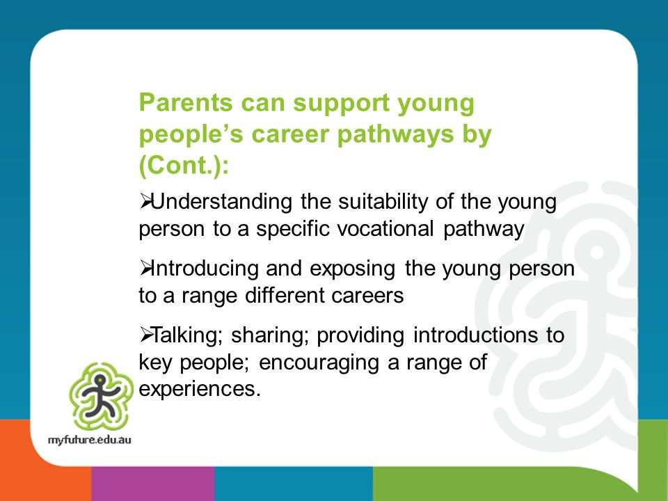 Understanding the suitability of the young person to a specific vocational pathway Introducing and exposing the young person to a range different careers Talking; sharing; providing introductions to key people; encouraging a range of experiences.
