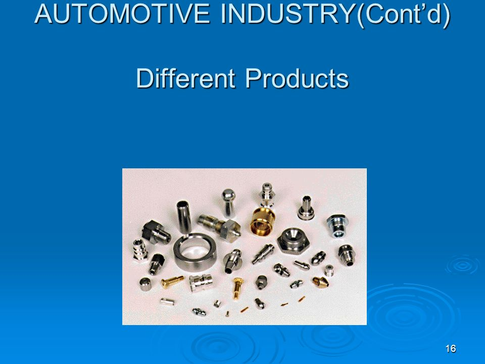 16 AUTOMOTIVE INDUSTRY(Contd) Different Products