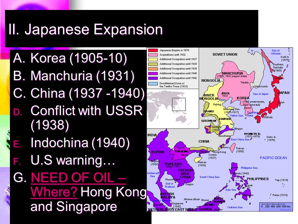 II. Japanese Expansion A. Korea ( ) B.Manchuria (1931) C.China ( ) D.