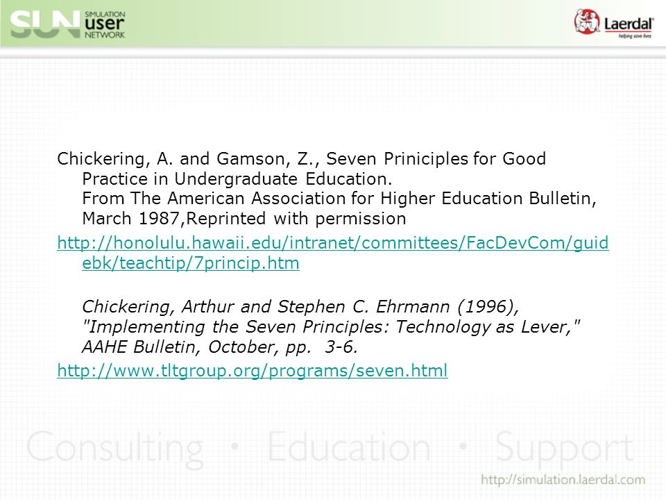 Chickering, A. and Gamson, Z., Seven Priniciples for Good Practice in Undergraduate Education.