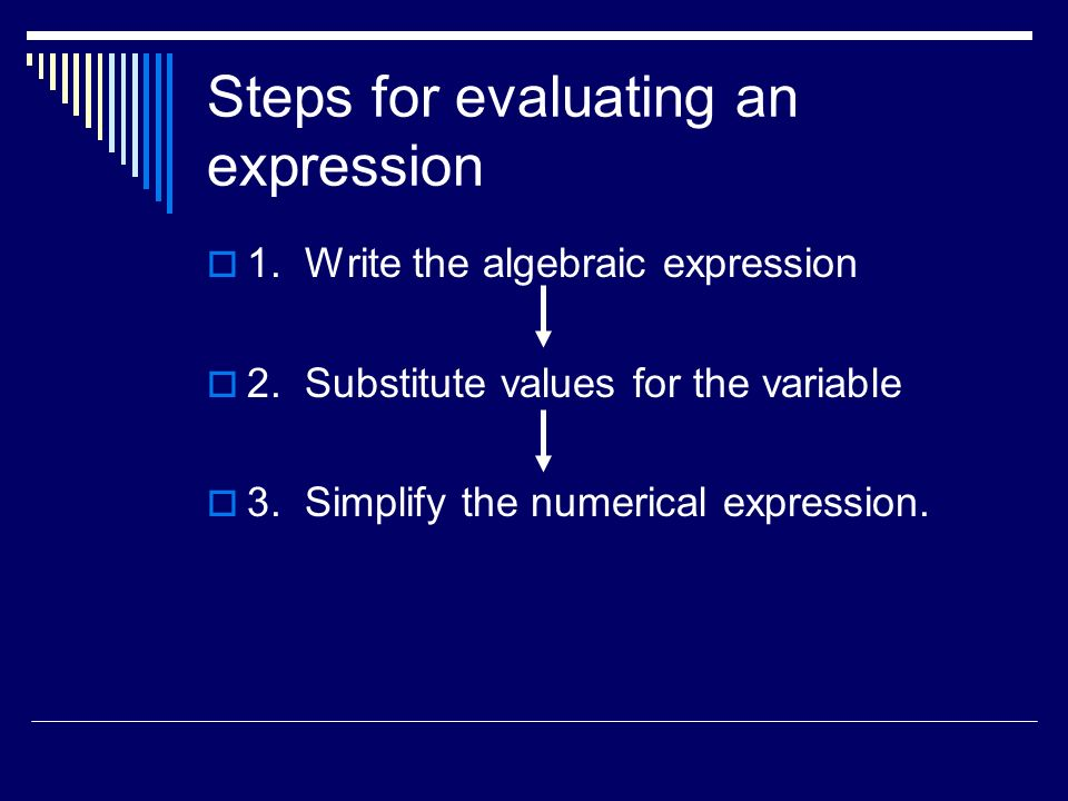 Steps for evaluating an expression 1. Write the algebraic expression 2.