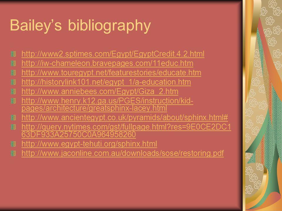 Baileys bibliography http://www2.sptimes.com/Egypt/EgyptCredit.4.2.html http://iw-chameleon.bravepages.com/11educ.htm http://www.touregypt.net/feature