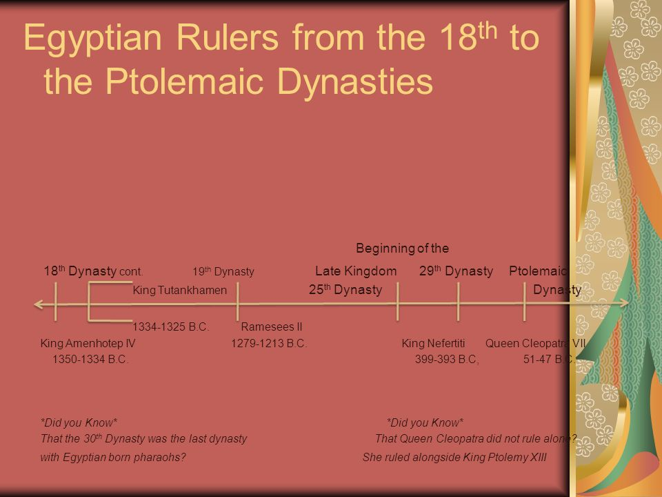 Egyptian Rulers from the 18 th to the Ptolemaic Dynasties Beginning of the 18 th Dynasty cont. 19 th Dynasty Late Kingdom 29 th Dynasty Ptolemaic King