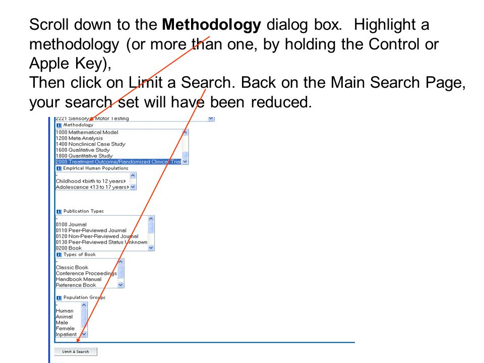 Scroll down to the Methodology dialog box.