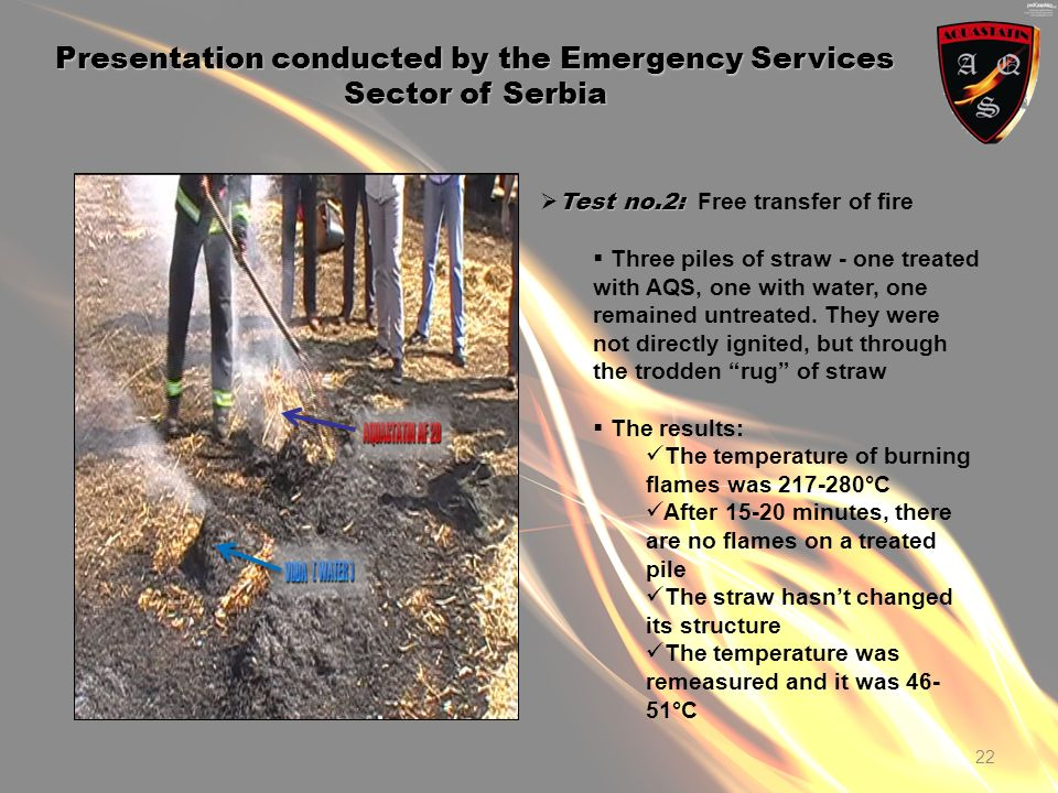 22 Presentation conducted by the Emergency Services Sector of Serbia Test no.2: Test no.2: Free transfer of fire Three piles of straw - one treated with AQS, one with water, one remained untreated.