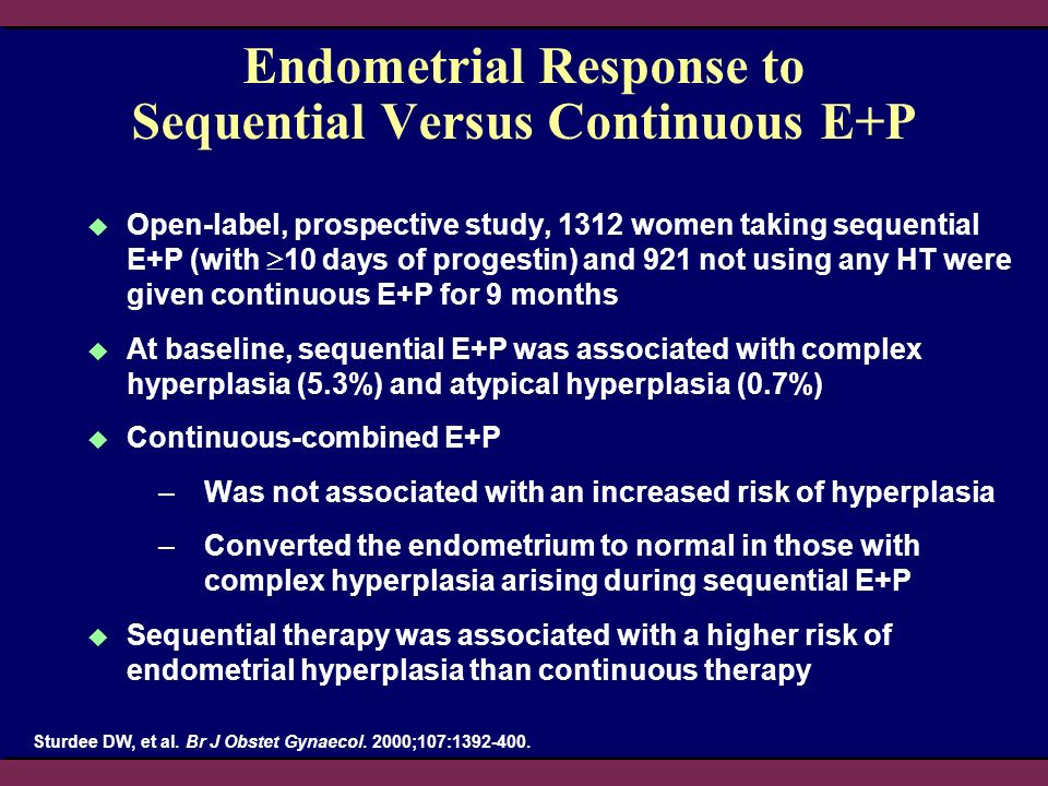 Endometrial Response to Sequential Versus Continuous E+P Open-label, prospective study, 1312 women taking sequential E+P (with 10 days of progestin) a