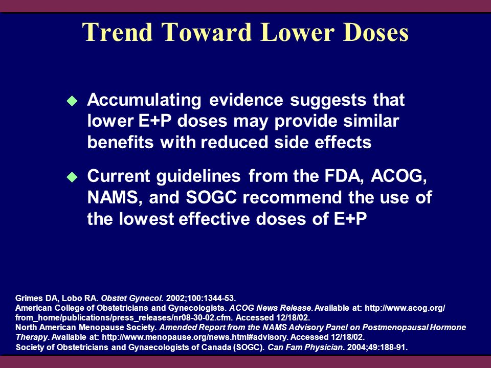 Trend Toward Lower Doses Accumulating evidence suggests that lower E+P doses may provide similar benefits with reduced side effects Current guidelines