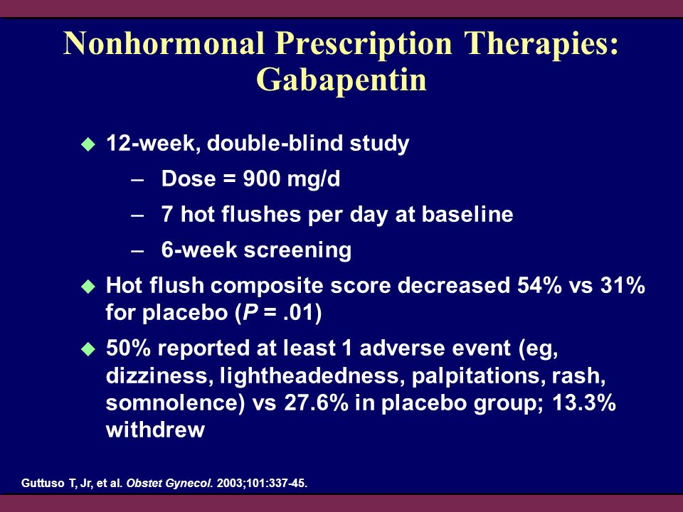 Nonhormonal Prescription Therapies: Gabapentin 12-week, double-blind study –Dose = 900 mg/d –7 hot flushes per day at baseline –6-week screening Hot f