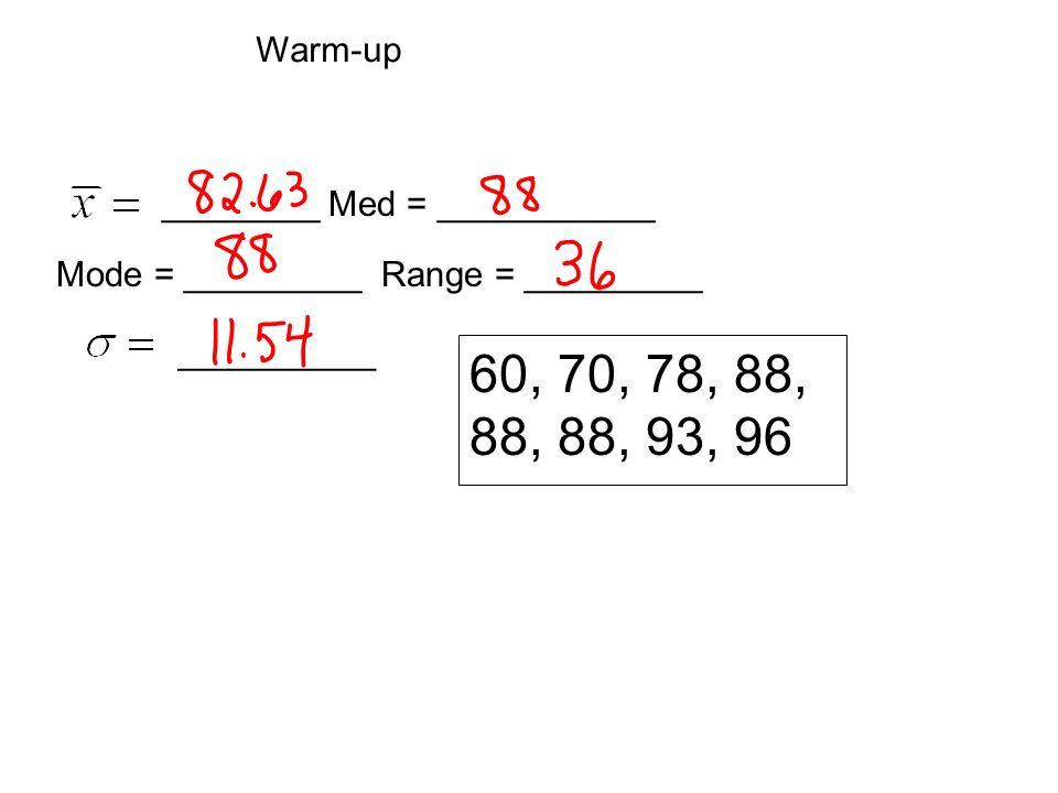 60, 70, 78, 88, 88, 88, 93, 96 ________ Med = ___________ Mode = _________ Range = _________ __________ Warm-up
