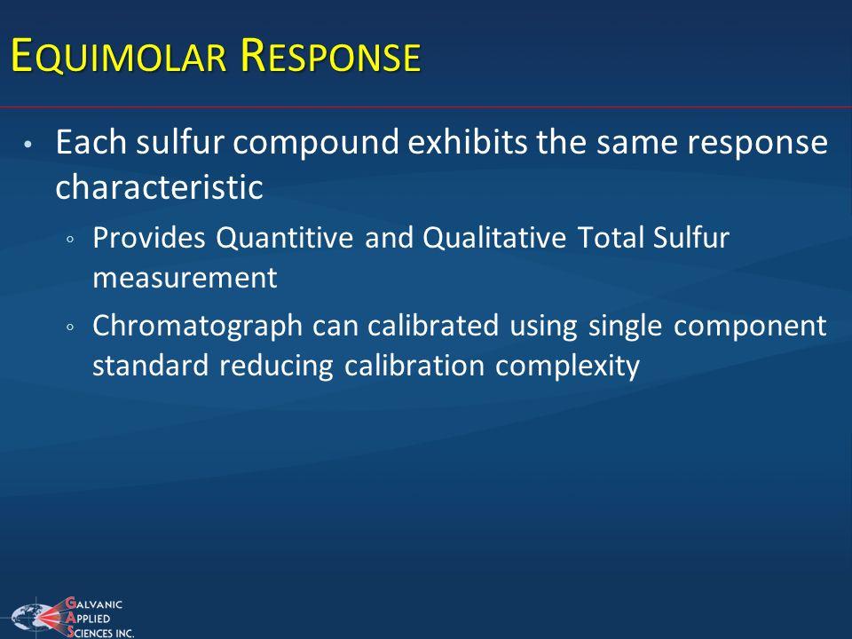 E QUIMOLAR R ESPONSE Each sulfur compound exhibits the same response characteristic Provides Quantitive and Qualitative Total Sulfur measurement Chrom