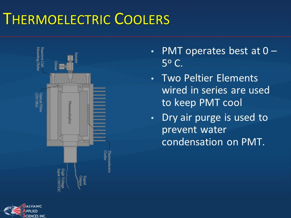 T HERMOELECTRIC C OOLERS PMT operates best at 0 – 5 o C. Two Peltier Elements wired in series are used to keep PMT cool Dry air purge is used to preve