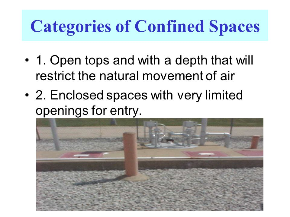 Categories of Confined Spaces 1. Open tops and with a depth that will restrict the natural movement of air 2. Enclosed spaces with very limited openin
