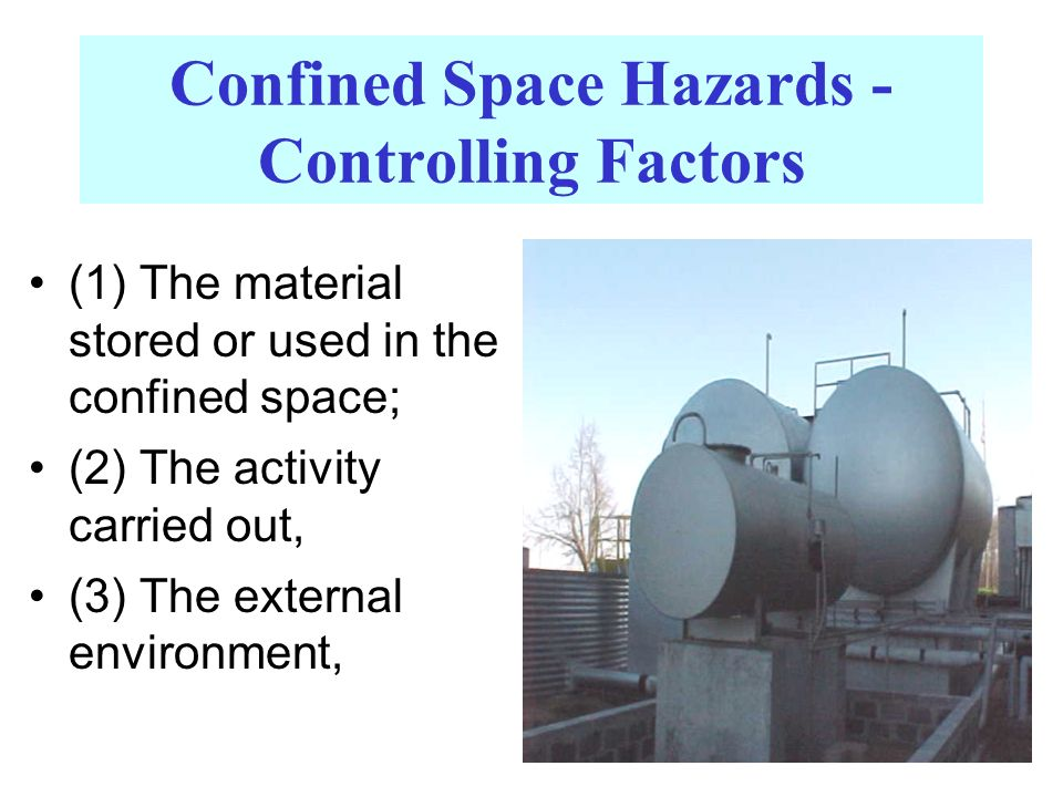 Confined Space Hazards - Controlling Factors (1) The material stored or used in the confined space; (2) The activity carried out, (3) The external env