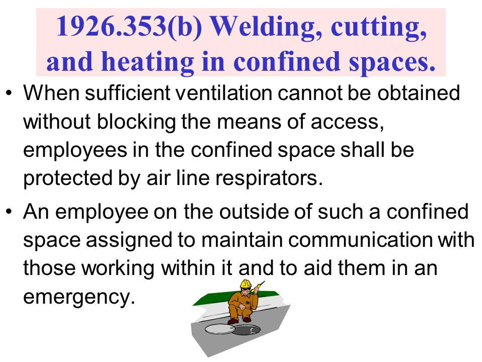 1926.353(b) Welding, cutting, and heating in confined spaces.