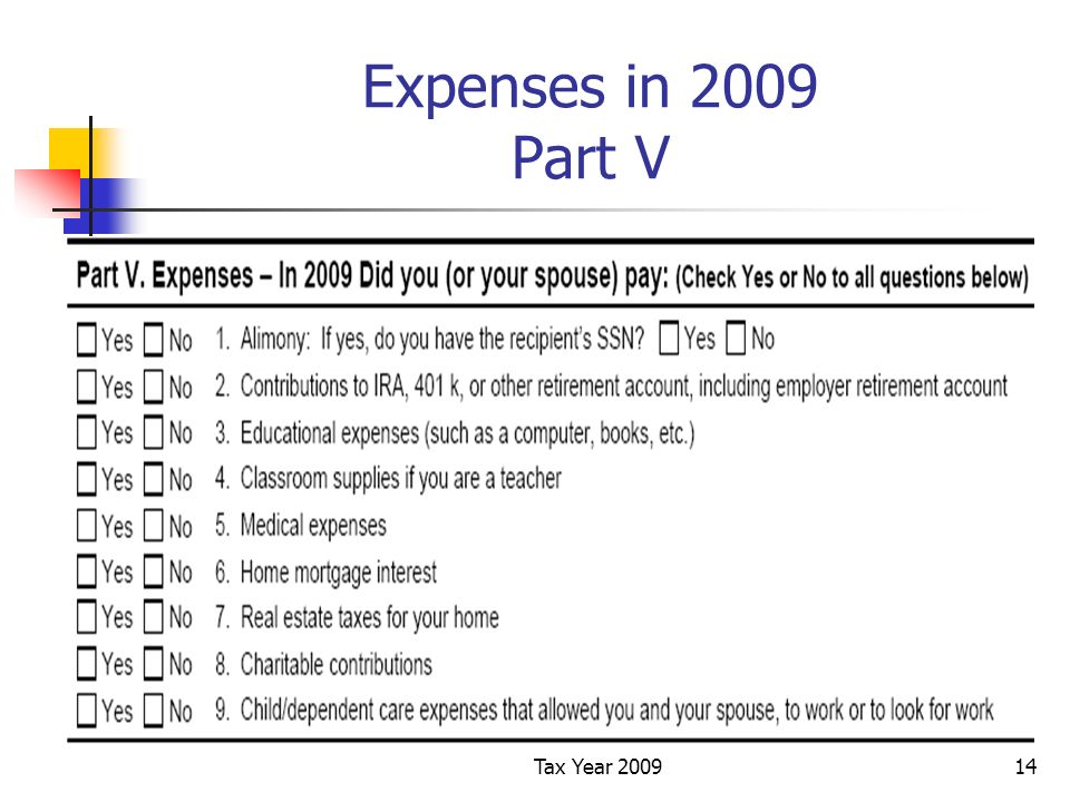 Tax Year 200914 Expenses in 2009 Part V