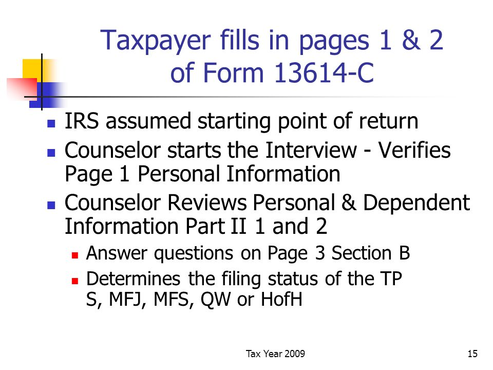 Tax Year 200915 Taxpayer fills in pages 1 & 2 of Form 13614-C IRS assumed starting point of return Counselor starts the Interview - Verifies Page 1 Personal Information Counselor Reviews Personal & Dependent Information Part II 1 and 2 Answer questions on Page 3 Section B Determines the filing status of the TP S, MFJ, MFS, QW or HofH