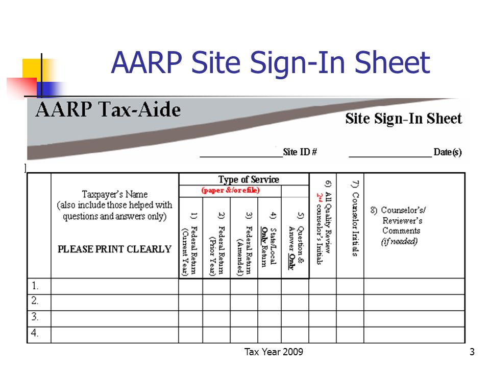 Tax Year 20093 AARP Site Sign-In Sheet