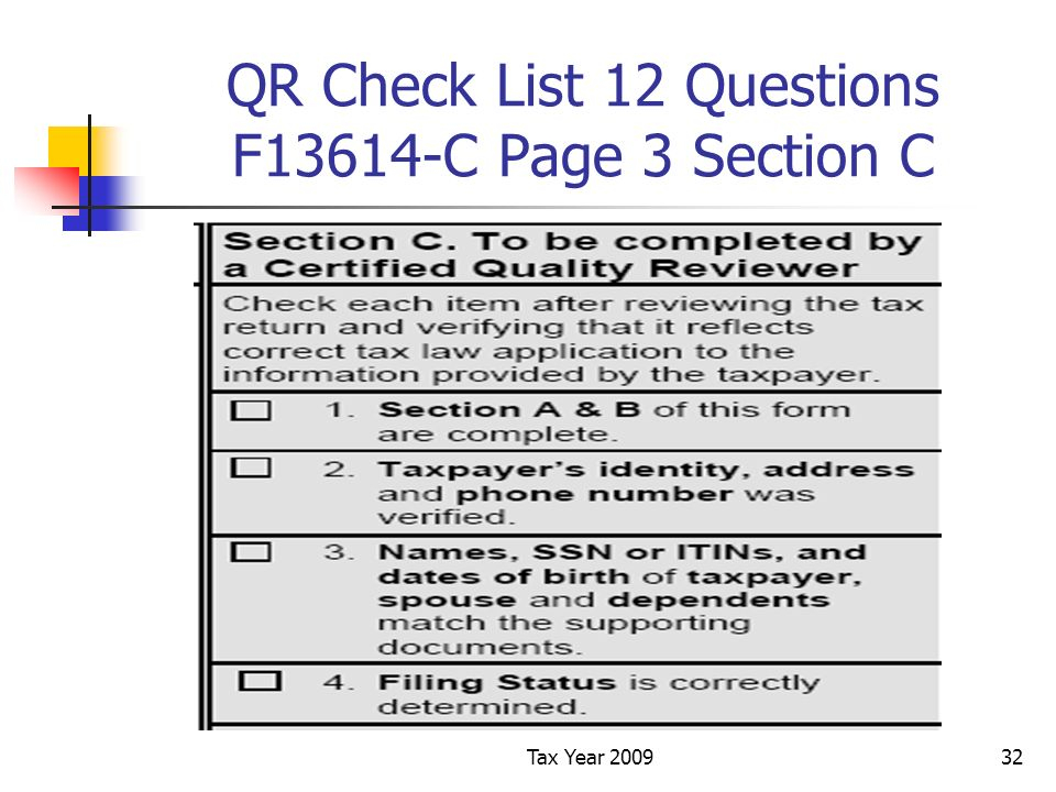Tax Year 200932 QR Check List 12 Questions F13614-C Page 3 Section C