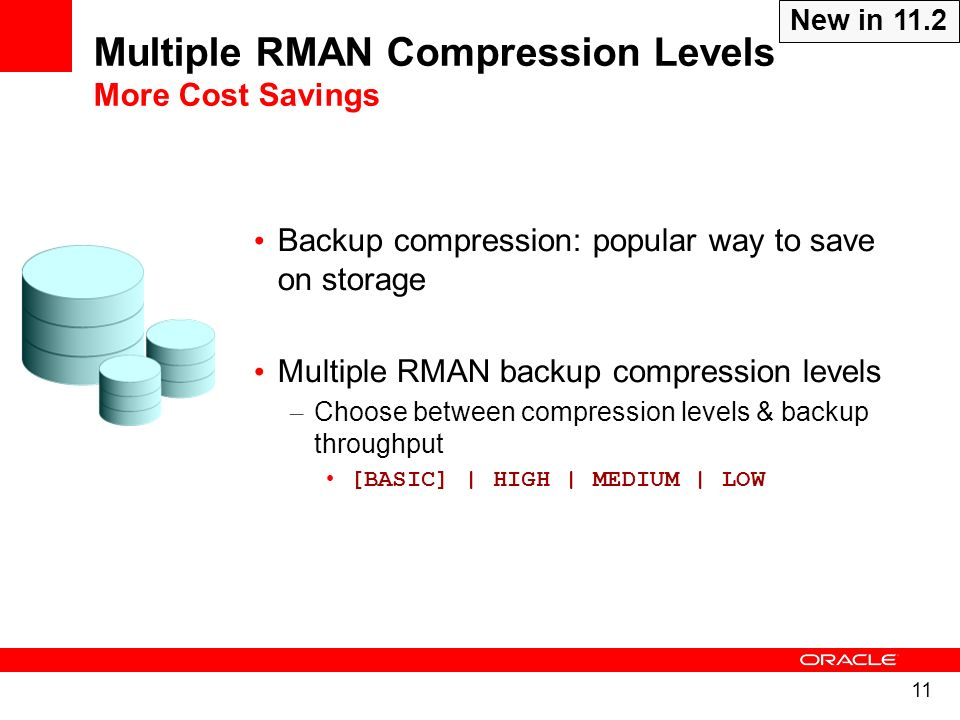 11 Backup compression: popular way to save on storage Multiple RMAN backup compression levels – Choose between compression levels & backup throughput