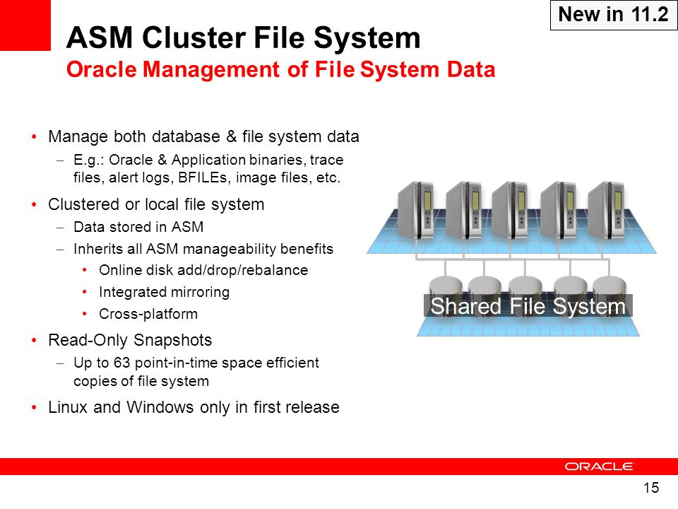 15 Manage both database & file system data – E.g.: Oracle & Application binaries, trace files, alert logs, BFILEs, image files, etc. Clustered or loca