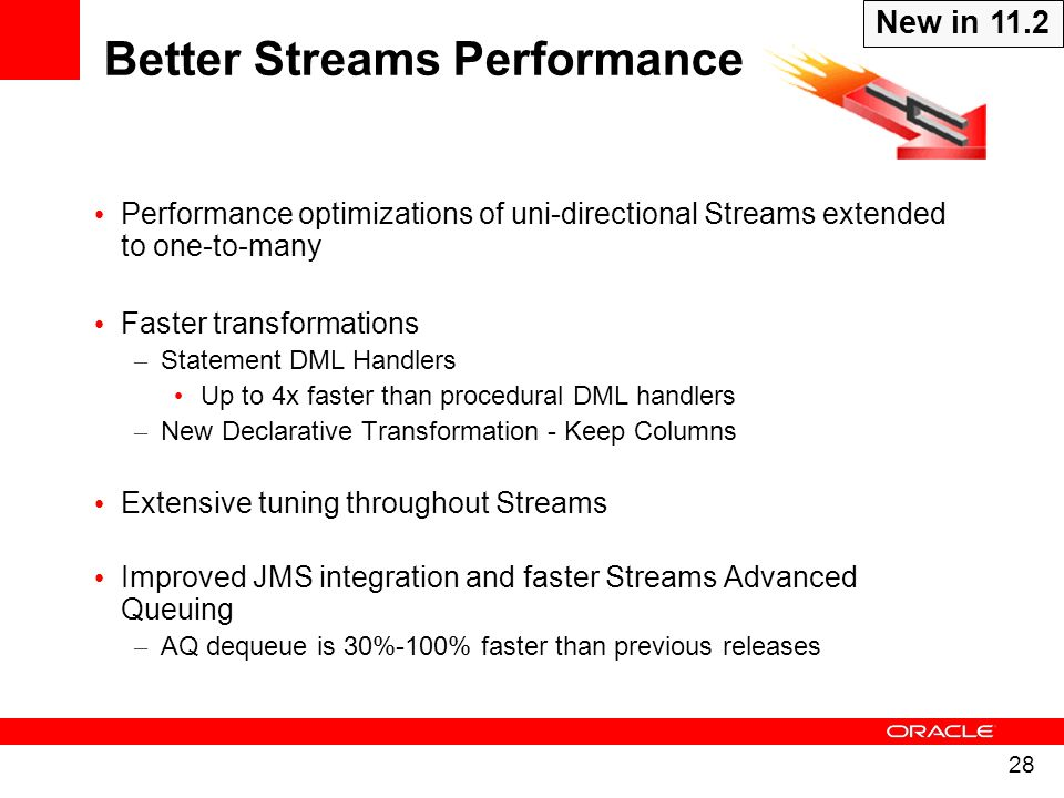 28 Performance optimizations of uni-directional Streams extended to one-to-many Faster transformations – Statement DML Handlers Up to 4x faster than p