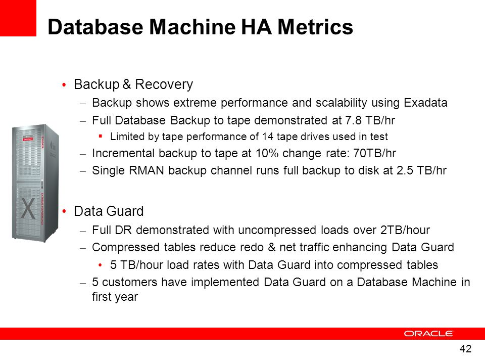 42 Backup & Recovery – Backup shows extreme performance and scalability using Exadata – Full Database Backup to tape demonstrated at 7.8 TB/hr Limited