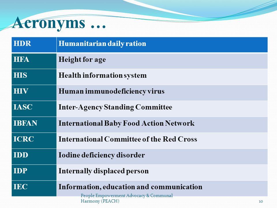 HDRHumanitarian daily ration HFAHeight for age HISHealth information system HIVHuman immunodeficiency virus IASCInter-Agency Standing Committee IBFANI