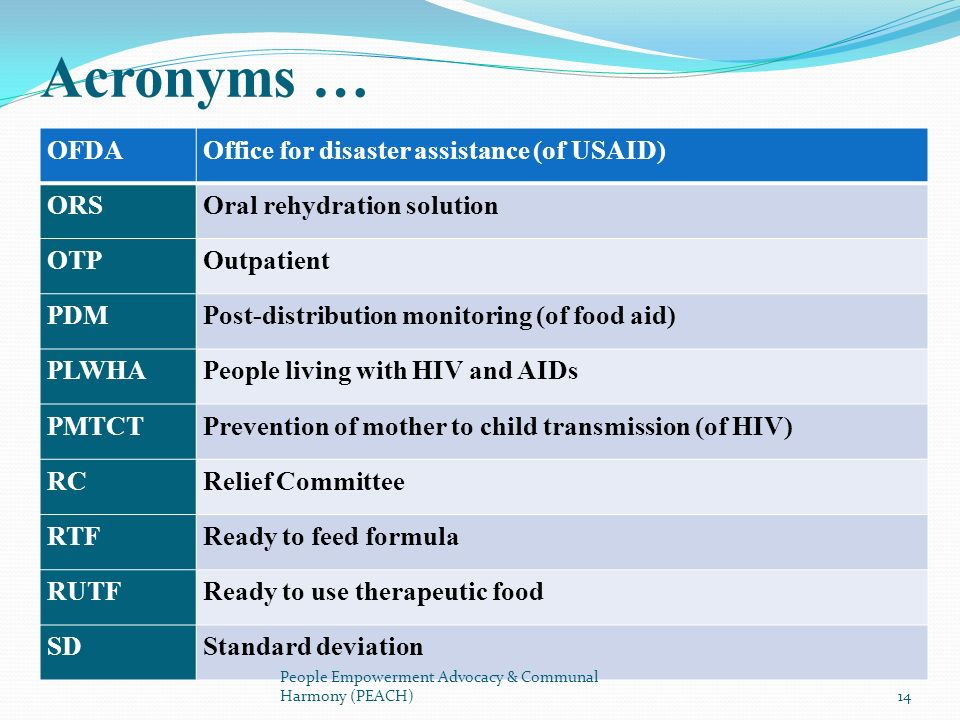 OFDAOffice for disaster assistance (of USAID) ORSOral rehydration solution OTPOutpatient PDMPost-distribution monitoring (of food aid) PLWHAPeople liv