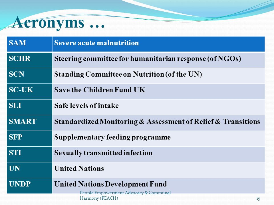 SAMSevere acute malnutrition SCHRSteering committee for humanitarian response (of NGOs) SCNStanding Committee on Nutrition (of the UN) SC-UKSave the C