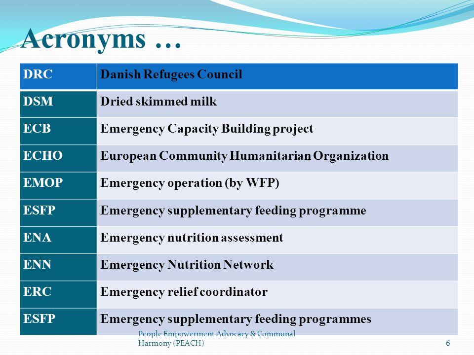 DRCDanish Refugees Council DSMDried skimmed milk ECBEmergency Capacity Building project ECHOEuropean Community Humanitarian Organization EMOPEmergency