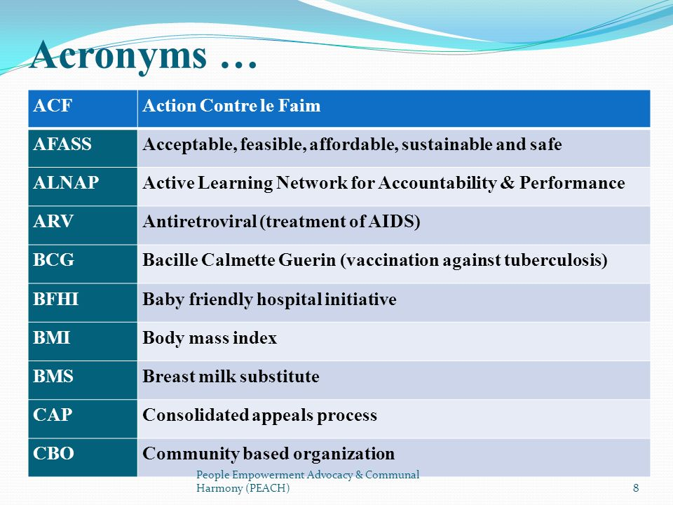ACFAction Contre le Faim AFASSAcceptable, feasible, affordable, sustainable and safe ALNAPActive Learning Network for Accountability & Performance ARV