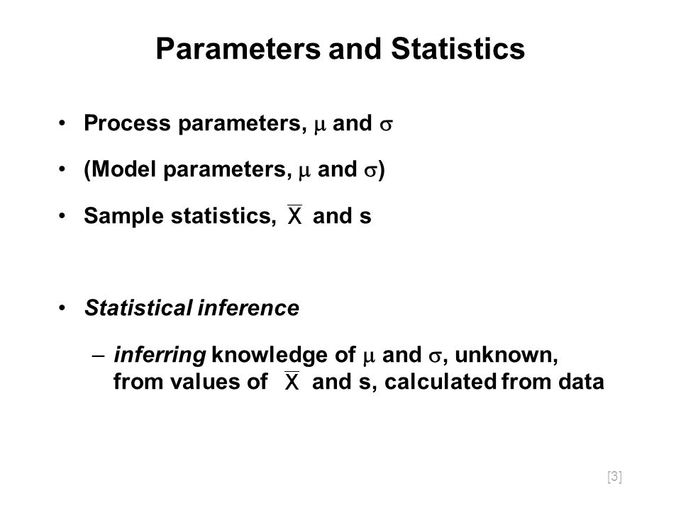 [3] Process parameters, and (Model parameters, and ) Sample statistics, and s Statistical inference –inferring knowledge of and, unknown, from values of and s, calculated from data Parameters and Statistics
