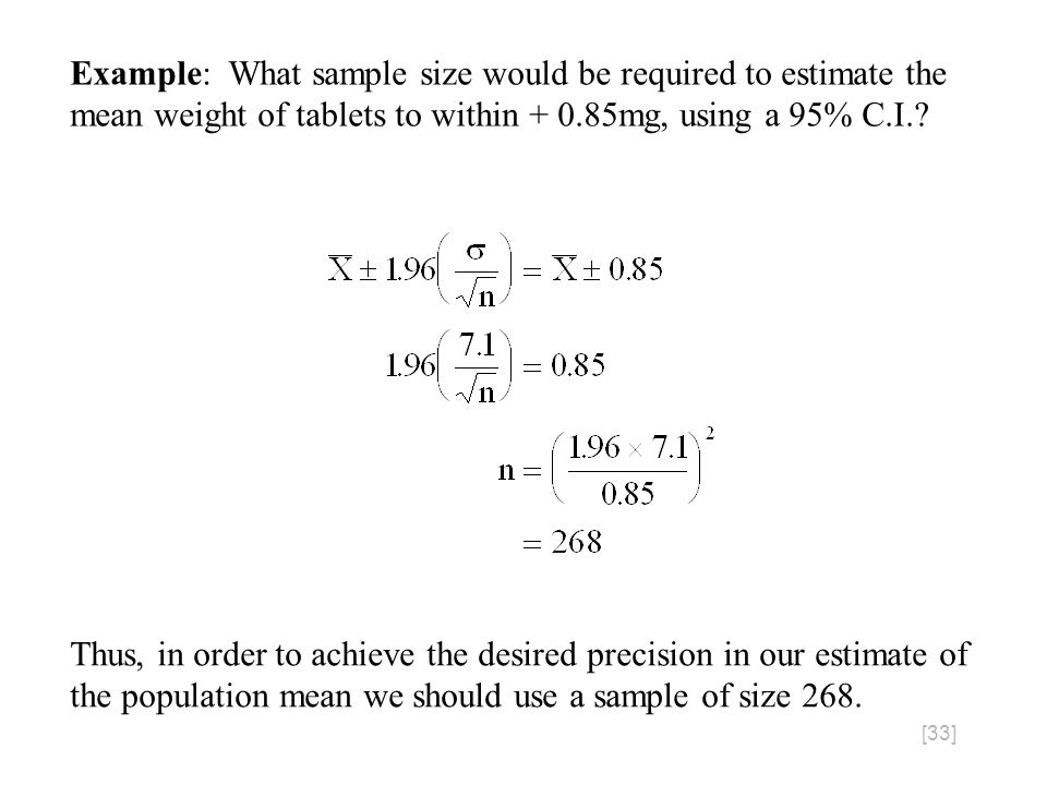 [33] Example: What sample size would be required to estimate the mean weight of tablets to within + 0.85mg, using a 95% C.I..