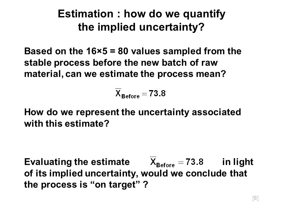[17] Logic of confidence intervals With repeated sampling from the process, n at a time and calculating a new value of each time, expect 95% of the calculated values of to be within two standard errors of.