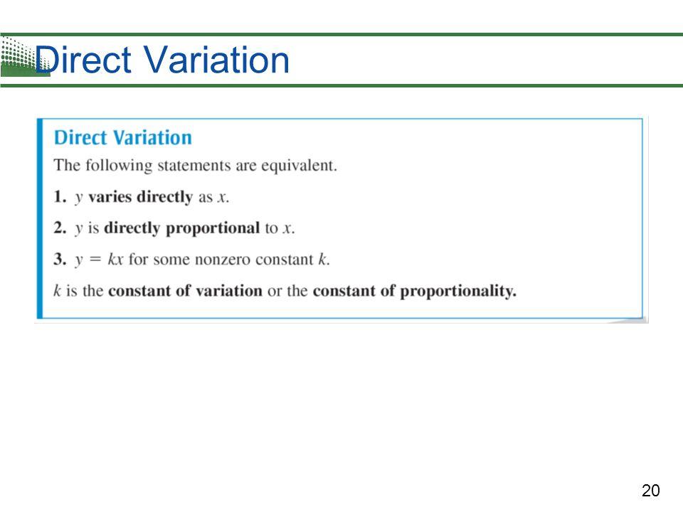 20 Direct Variation