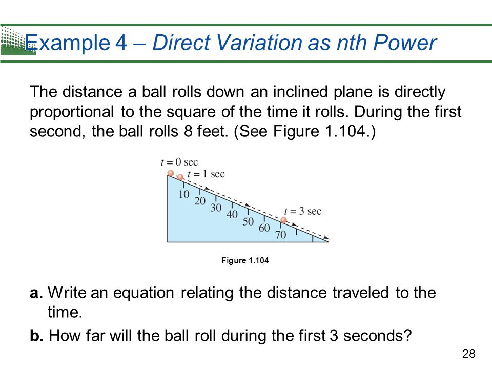 28 Example 4 – Direct Variation as nth Power The distance a ball rolls down an inclined plane is directly proportional to the square of the time it ro