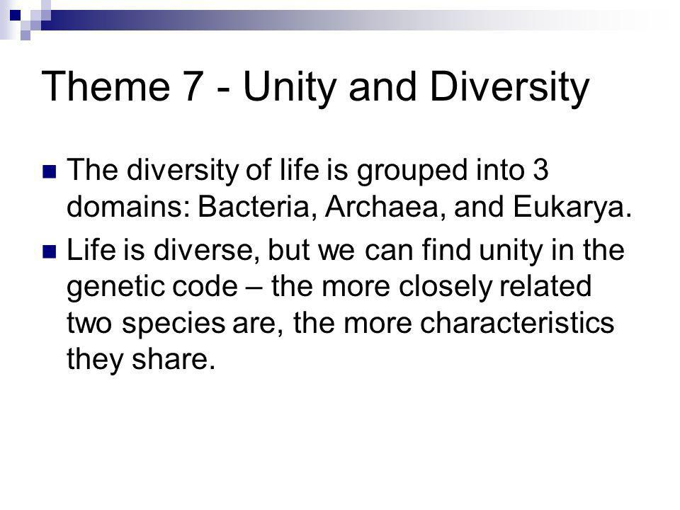 Theme 7 - Unity and Diversity The diversity of life is grouped into 3 domains: Bacteria, Archaea, and Eukarya. Life is diverse, but we can find unity